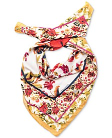 Chintz-Border Floral-Print Square Scarf