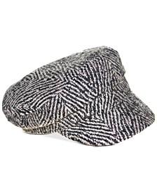 Thick Herringbone Wide-Brim Newsboy Hat