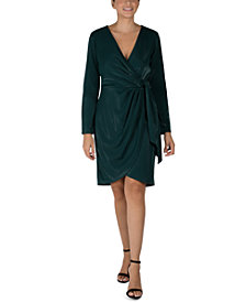 julia jordan Scuba Faux-Wrap Sheath Dress