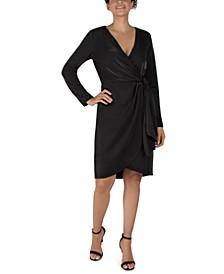 Scuba Faux-Wrap Sheath Dress