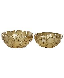 Contemporary Metallic Metal Decorative Bowls, Set of 2