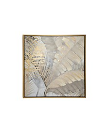 Large Square Acrylic Painting of Palm Leaves and Ferns in Wood Frame
