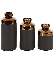 Tall Cylinder Metallic Copper and Matte Decorative Vases, Set of 3