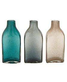 Coastal Style Large Glass Bottle Vases Table Decor, Set of 3