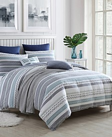 Exceptional Talise Dobby Weave Slub Stripe 3 Piece Comforter Set Collection
