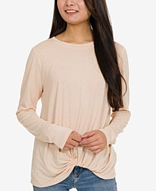Juniors' Marled Twist-Front Top