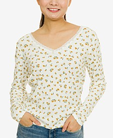 Juniors' Lace-Trimmed Floral Rib-Knit Top
