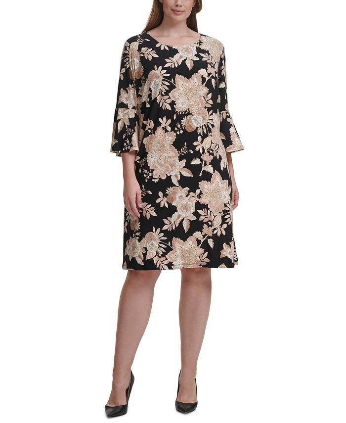 Tommy Hilfiger - Plus Size Floral-Print Fit & Flare Dress