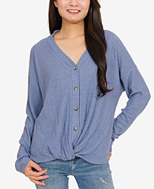 Juniors' Waffle-Knit Twist-Front Top