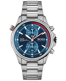 HUGO Men's Chronograph Globetrotter Stainless Steel Bracelet Watch 46mm