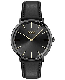 Men's Skyliner Black Leather Strap Watch 40mm