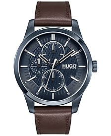 Men's #REAL Brown Leather Strap Watch 46mm