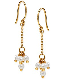 18k Gold-Plated Shaky Imitation Pearl Cluster Chain Drop Earrings