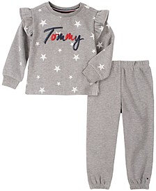 Little Girls  2 Piece Heathered Top with Pant Set