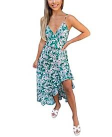 Women's Wrap Printed Midi Dress