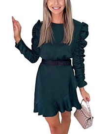 Women's Ruched Sleeve Skater Dress
