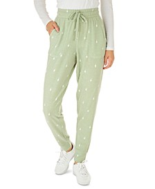 Juniors' Printed Cozy Jogger Pants