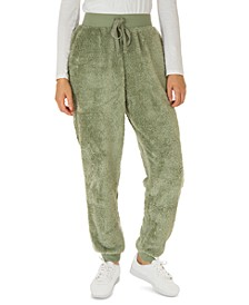 Juniors' Faux-Sherpa Jogger Pants