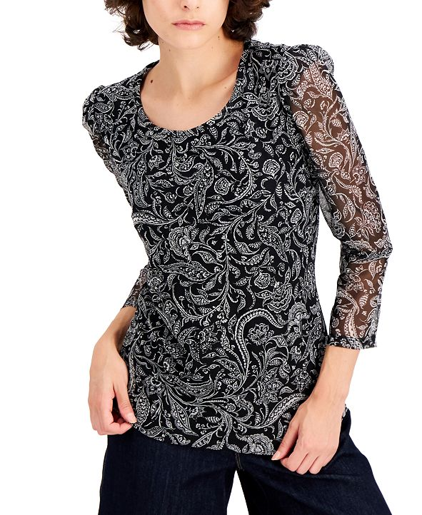 INC International Concepts INC Printed 3/4-Sleeve Top, Created for Macy's