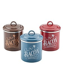 Enamel on Steel 4-Inch by 4-Inch Bacon Grease Can, Set of 3, Mixed Colors