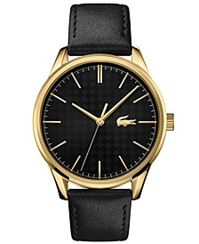 Men's Vienna Black Leather Strap Watch 42mm