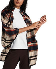 Darcey Plaid Faux-Leather-Trim Cape, Created for Macy's