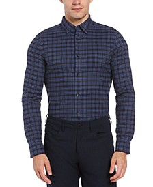 Men's Slim Fit Brushed Plaid Long Sleeve Button-Down Stretch Shirt