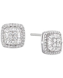Diamond Baguette Square Stud Earrings (1/2 ct. t.w.) in 14k Gold , 14k White Gold or 14k Rose Gold