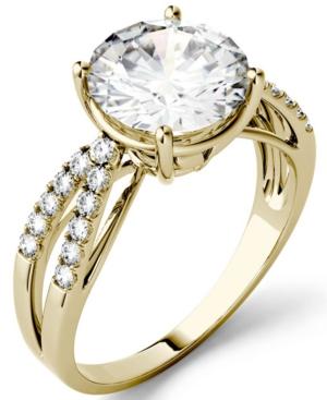 Moissanite Split Shank Ring 2-9/10 ct. t.w. Diamond Equivalent in 14k White Gold or 14k Yellow Gold