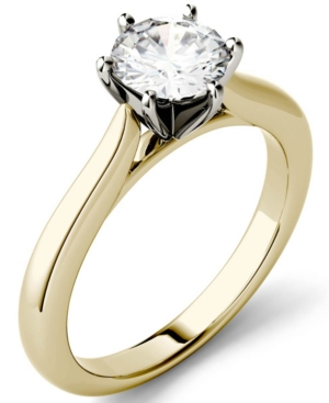 Moissanite Solitaire Engagement Ring 1 ct. t.w. Diamond Equivalent in 14k White Gold or 14k Yellow Gold