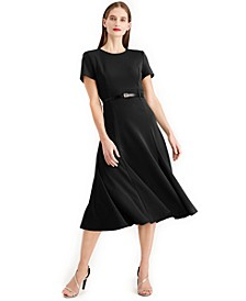 Belted A line Midi Dress