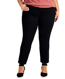 Style & Co Plus Size Tummy Control Straight-Leg Jeans, Created for Macy's