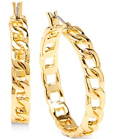 Gold-Tone Medium Curb Chain Hoop Earrings, 1.3""