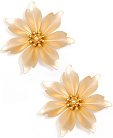 Gold-Tone Suede-Painted Jasmine Flower Stud Earrings