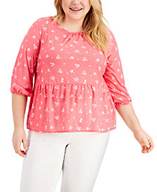 Style & Co Plus Size Textured Peplum Top, Created for Macy's