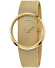 Women's Swiss Glam Gold-Tone PVD Stainless Steel Mesh Bracelet Watch 42mm