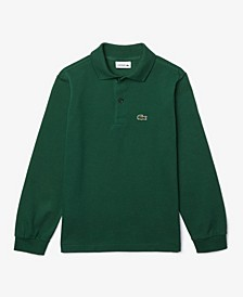 Toddler Boys Classic Long Sleeve Cotton Petit Pique Polo Shirt