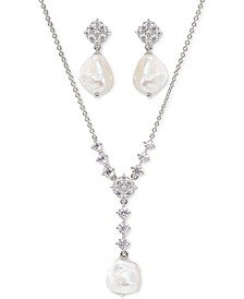 Cubic Zirconia & Imitation Pearl Lariat Necklace & Drop Earrings Set, Created for Macy's