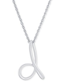 """Script Initial 18"""" Pendant Necklace in Sterling Silver, Created for Macy's"""