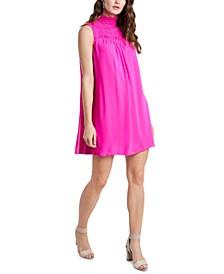 High-Neck Smocked Dress
