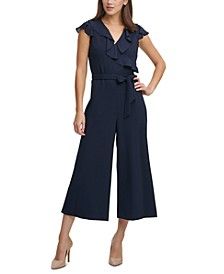Karl Lagerfeld Ruffle Cropped Jumpsuit
