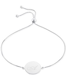 Engraved Script Initial Disc Bolo Bracelet in Sterling Silver, Created for Macy's