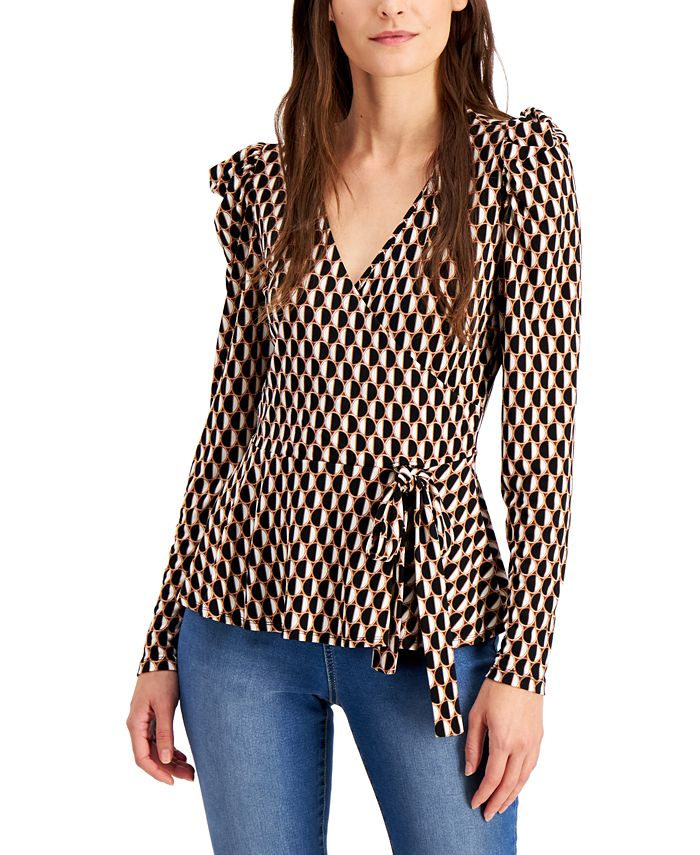 INC International Concepts - Puff-Sleeve Surplice Top