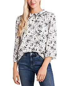 Floral-Print Collar Blouse
