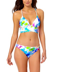 Juniors' V-Neck Wide-Band Bikini Top & Hipster Bikini Bottom, Created for Macy's