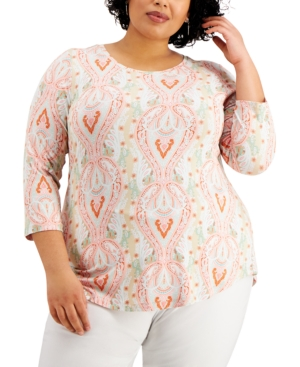 Jm Collection Tops PLUS SIZE PRINTED TOP, CREATED FOR MACY'S