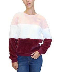 Juniors Fuzzy Colorblocked Sweatshirt