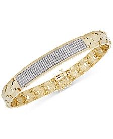 Men's Diamond Pavé Plate Link Bracelet (1 ct. t.w.) in 14k Gold-Plated Sterling Silver