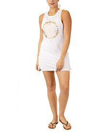 Juniors' Graphic Lace-Up-Detail Cover-Up, Created for Macy's