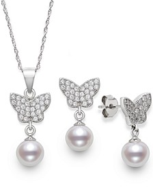 2-Pc. Set Cultured Freshwater Pearl (6-7mm) & Cubic Zirconia Pendant Necklace & Matching Drop Earrings in Sterling Silver, Created for Macy's